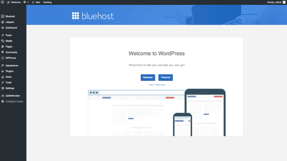 How to setup wordpress with Bluehost