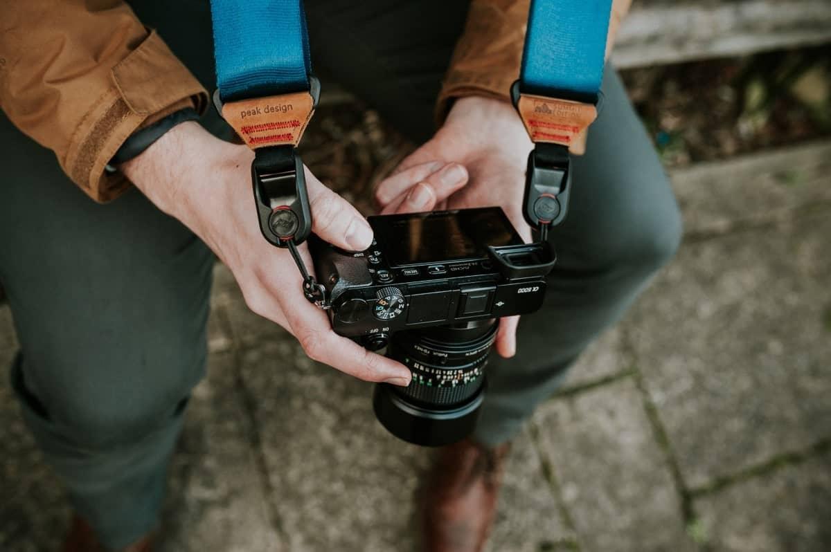 Man looking at a camera
