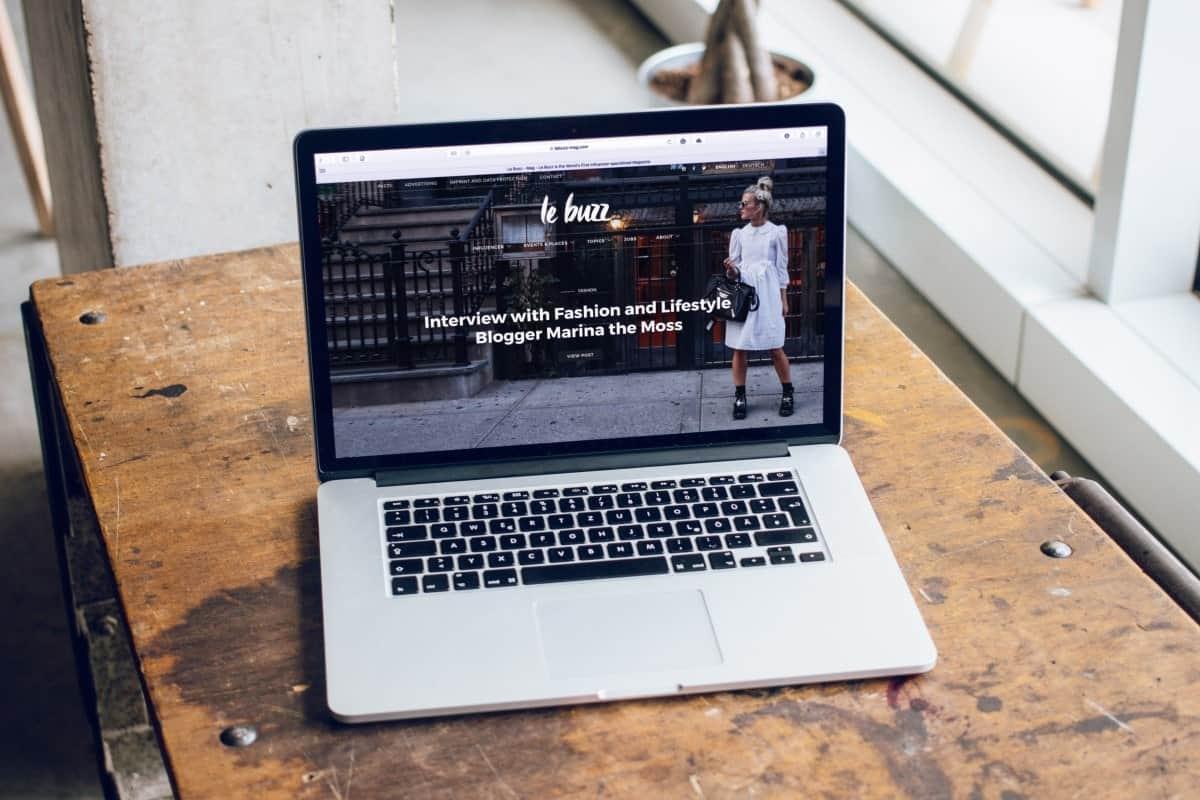 laptop showing a blog