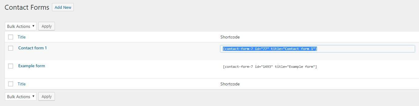 Shortcode in the main contact form area