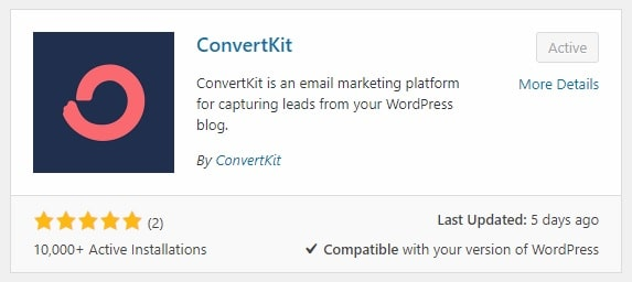 Install the ConvertKit plugin from your WordPress dashboard