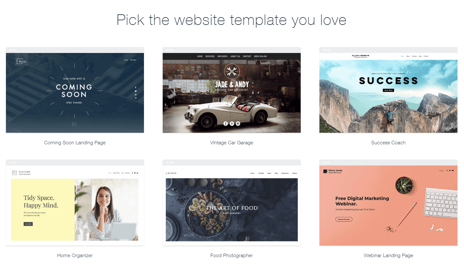 Pick the Wix Website template you love