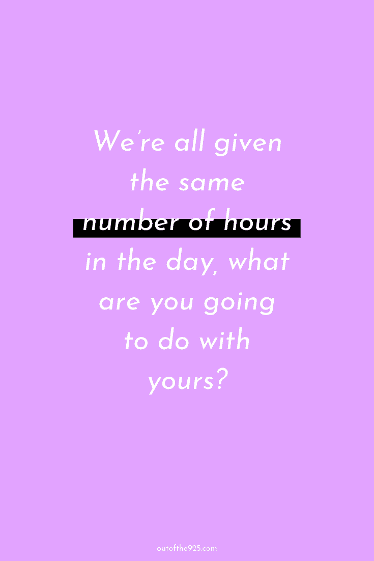 We're all given the same number of hours in the day, what are you going to do with yours - Motivational Quotes