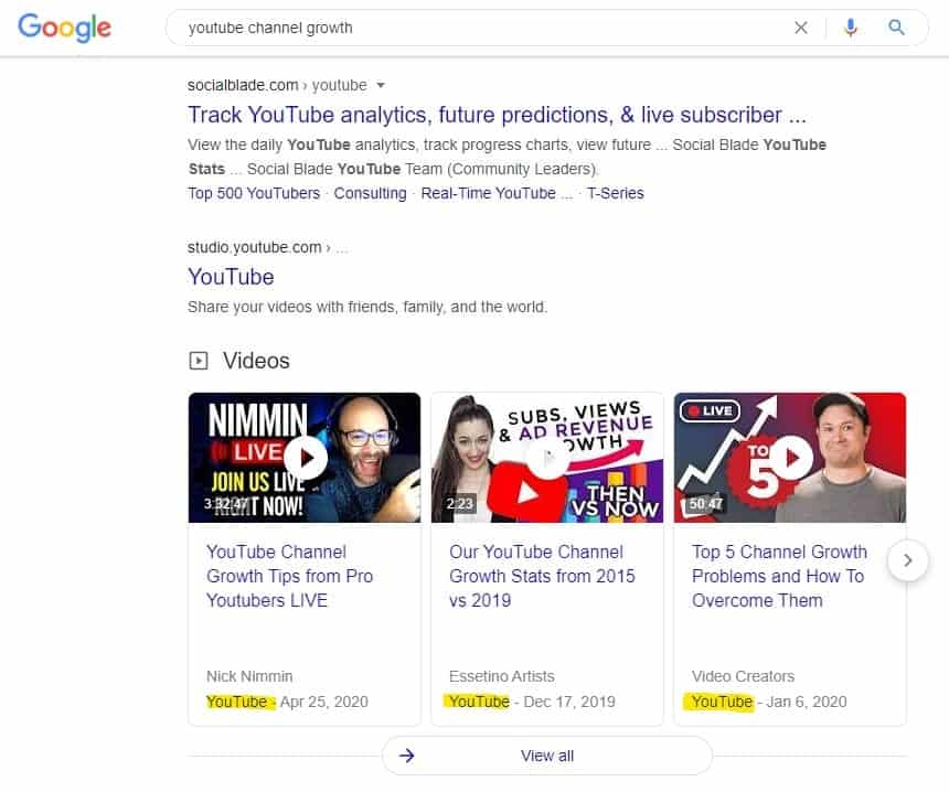 YouTube videos in Google search results example