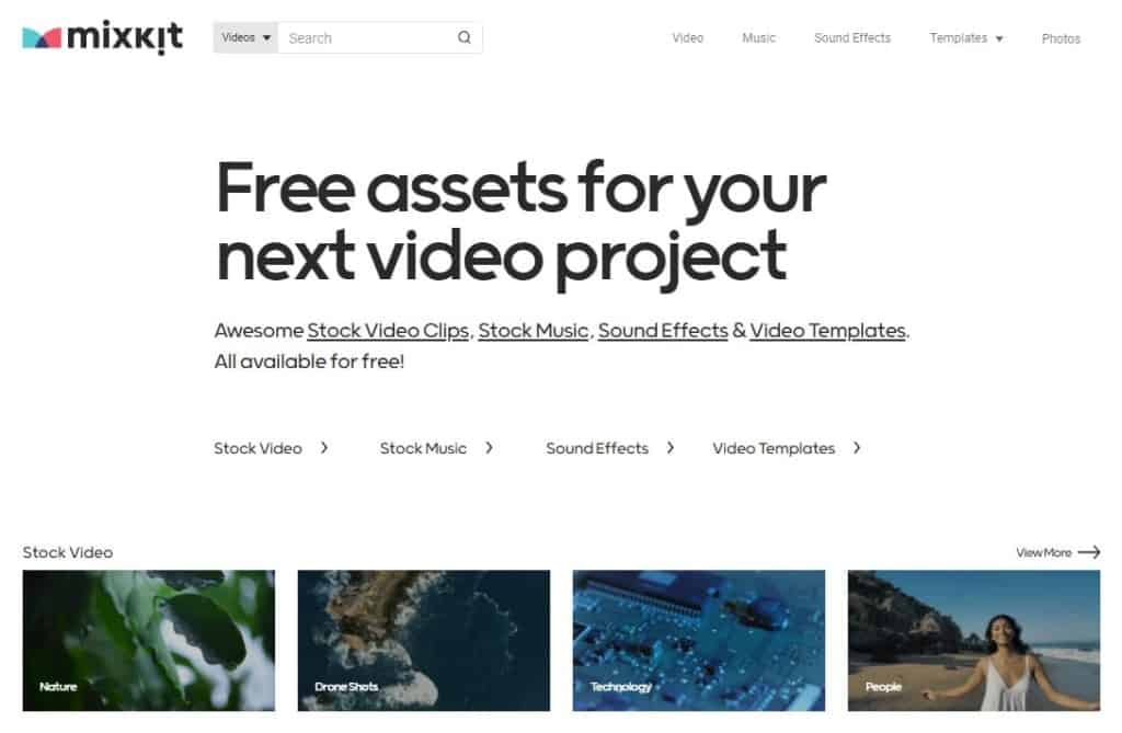 MixKit, one of the best websites for free stock footage