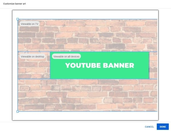 Select your banner and select done to apply your new YouTube channel art
